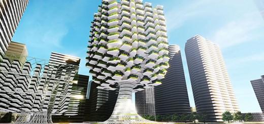 まるで巨木。天空にそびえ立つ未来の農業施設「スカイファーム」